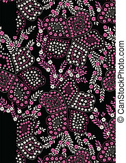 Floral pattern pink and black