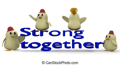 Teamwork concept - Strong together concept with a team of...