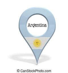 3D, punta alfiler, bandera, Argentina, aislado, blanco