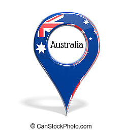 3D pinpoint with flag of Australia isolated on white