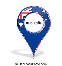 3D, punta alfiler, bandera, Australia, aislado, blanco