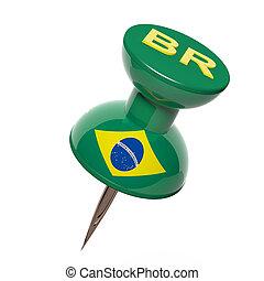 3D, Pushpin, bandera, brasil, aislado, blanco