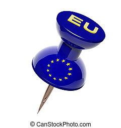 3D, Pushpin, bandera, europeo, unión, aislado