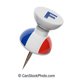 3D pushpin with flag of France isolated on white