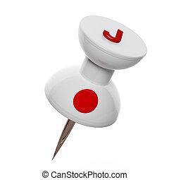 3D, pushpin, bandeira, Japão, isolado, branca