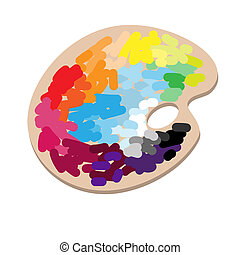 The artist's palette with colorful paints - The artist's...