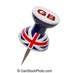 3D pushpin with flag of Great Britain isolated