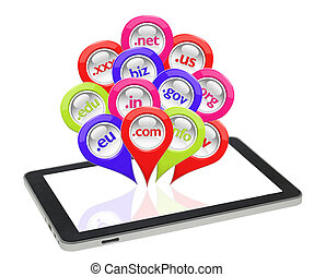 Glossy 3D collection of domain pins on tablet isolated