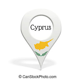 3D pinpoint with flag of Cyprus isolated on white