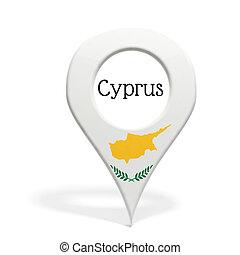 3D, punta alfiler, bandera, Chipre, aislado, blanco