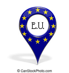 3D pinpoint with flag of Europe isolated on white