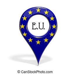 3D, punta alfiler, bandera, Europa, aislado, blanco
