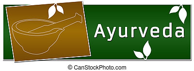 Ayurveda Mortar Banner Green Golden - A banner image with...