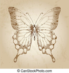 Beautiful butterfly painted in graphic style points Lovely...