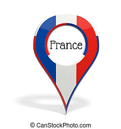 3D pinpoint with flag of France isolated on white