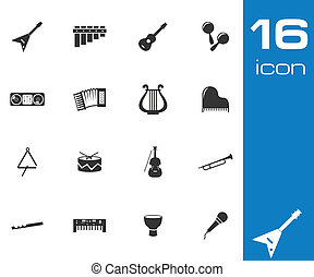 Vector black music instruments icons set white background