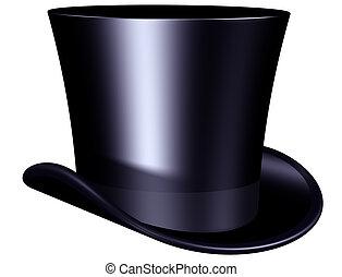 elegante, cima, sombrero