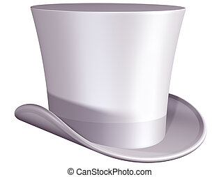 Top hat for a wedding - Isolated illustration of a white top...