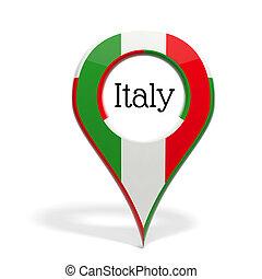 3D, punta alfiler, bandera, Italia, aislado, blanco