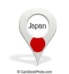 3D, pinpoint, bandeira, Japão, isolado, branca