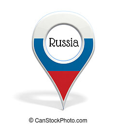 3D pinpoint with flag of Russia isolated on white