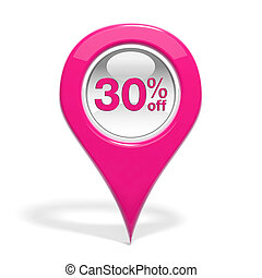 Sales round pin with 30% off isolated on white