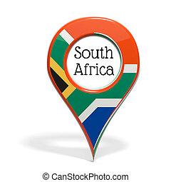 3D, punta alfiler, bandera, sur, áfrica, aislado,...