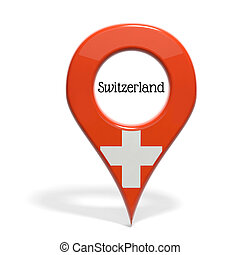 3D pinpoint with flag of Switzerland isolated on white