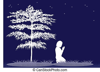 Prayer Silhouette - Illustration of a girl praying on a...