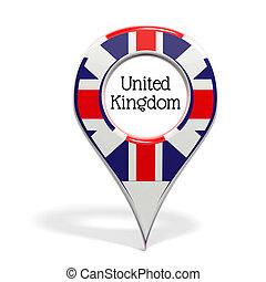3D, punta alfiler, bandera, unido, reino, aislado