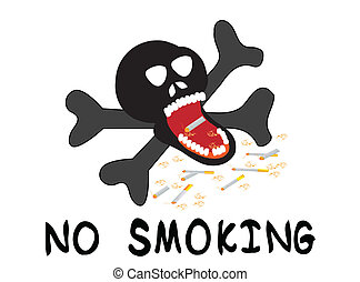 No smoking - illustration with cigarette and skeleton