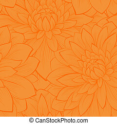 Beautiful seamless pattern with blooming yellow dahlias closeup. Hand drawn in graphic style
