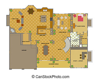House interior plan - Color House showing interior objects...
