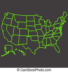 United States map - Usa map in green neon