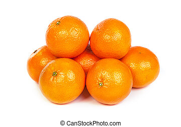 Group of ripe tangerine or mandarin with slices on white