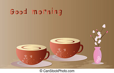 Good Morning - Two cups of coffee on brown background vector...