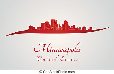 Minneapolis skyline in red and gray background in editable...