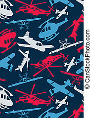 Planes and helicopters Illustrator swatch of repeat pattern...