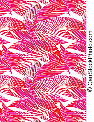 Red tropical leaves in repeat pattern