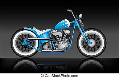 custom bobber on black background - blue custom bobber on...