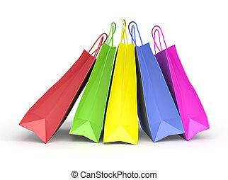Colored paper shopping bags on white background