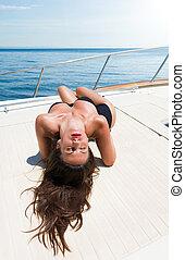 Young woman Sailing