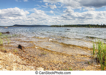 Lake shore - Beautiful landscape with close-up of lake shore...