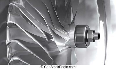 Metallic turbine - 3D rendered metal turbine detail. Render...