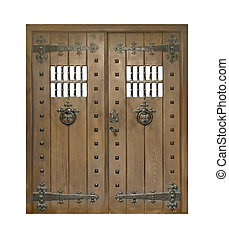 Ancient Isolated Door - Isolated ancient style door made it...