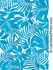 Tropical leaves Aqua blue