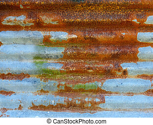 Rusty corrugated metal sheet texture