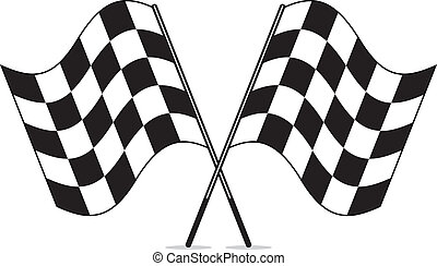 vector black and white crossed racing checkered flags...