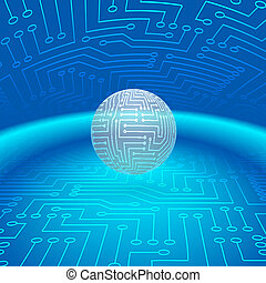 Abstract Sphere of Electronic Circuitry - Abstract Shining...
