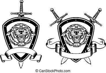 board sword and tiger head